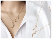 New European and American Jewelry Romantic Lovers Metal Moon Stars Combination of Collarbone Necklace Wholesale Gothic american gothic