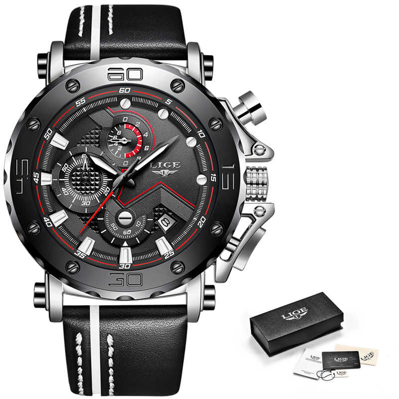 Reloj clásico LIGE para hombre, cronógrafo deportivo para hombre, reloj de cuarzo, reloj de pulsera de cuero, reloj Masculino, regalo de moda para hombre
