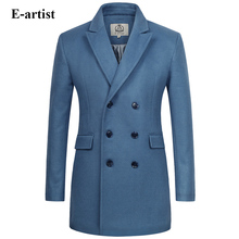 E-artist Men's Long Double Breasted Wool Trench Coat Male Warm Winter Jackets Peacoats Outerwear Overcoats Plus Size 5XL N33(China)