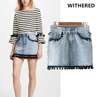 Withered Denim Skirts Women High Street High Waist Mini Jeans Skirt Tassels Decoration A Line Mini