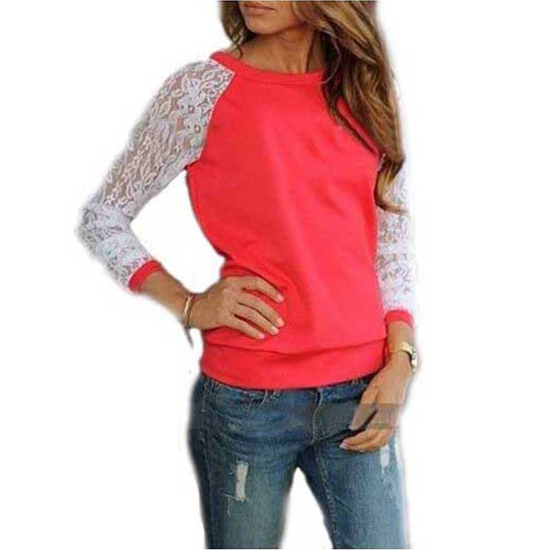 2017 Summer Lace Blouses Shirts Women Long Sleeve Blouse Blusa Feminina shirt Blouse Tops Solid O Neck Casual Shirts 5 Colors