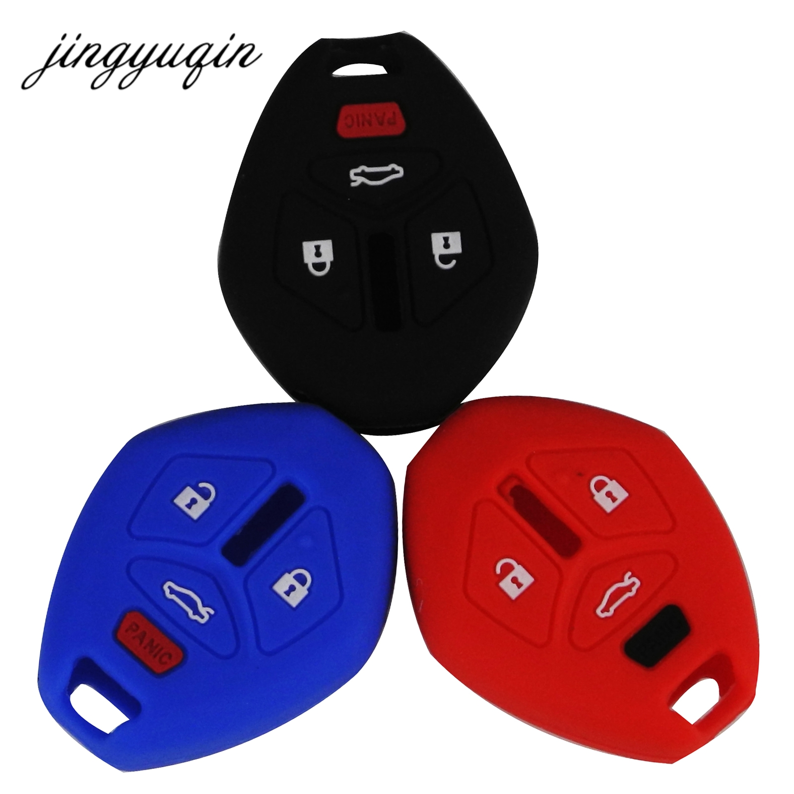 jingyuqin 30pcs/lot Silicone Rubber Key fob Scase for Mitsubishi Eclipse Galant Lancer Raider Endeavor Outlander Remote Cover