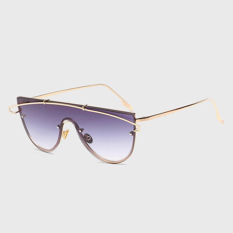 998a3d25487 2018 г. женские Солнцезащитные очки Винтаж одна штука тип объектива  металлические солнцезащитные очки модной ясно