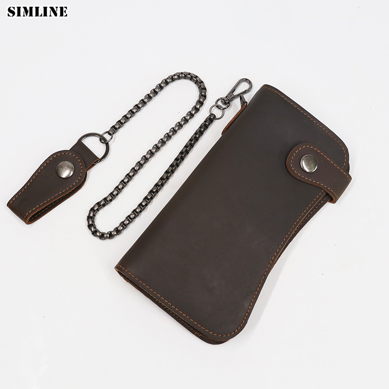 SIMLINE Genuine Leather Men Wallet Men's Long Vintage Crazy Horse Cowhide Chain Wallets Purse Zipper Coin Pocket Card Holder men wallet male cowhide genuine leather purse money clutch card holder coin short crazy horse photo fashion 2017 male wallets