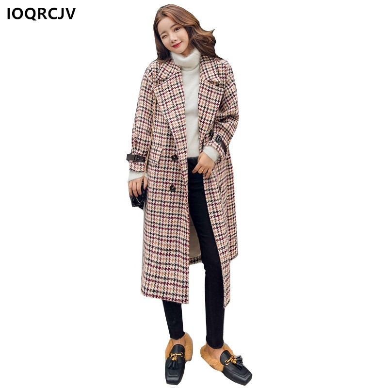 Winter Women Coat Manteau Femme Hive Blended Woolen Casual Medium-length Plaid Long Sleeve Fashion Cozy Outerwear IOQRCJV F9