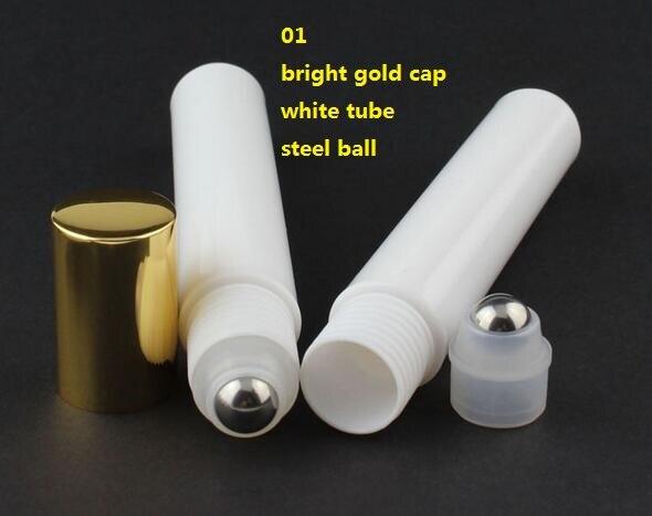 50pcs 15ML plastic roll on Bottle steel bead ball Sample Perfume Vial Small Essential Oil bottle