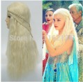 Halloween wigs Game of Thrones Long Wavy Blonde with braid Cosplay Anime wig Daenerys Targaryen Mother of Dragons
