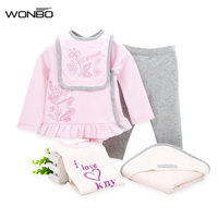 5pcs/Set Baby Girl Clothes Set 100% Cotton Winter Kids Newborn Gift Baby Birthday Outfits Infant Girl Clothing
