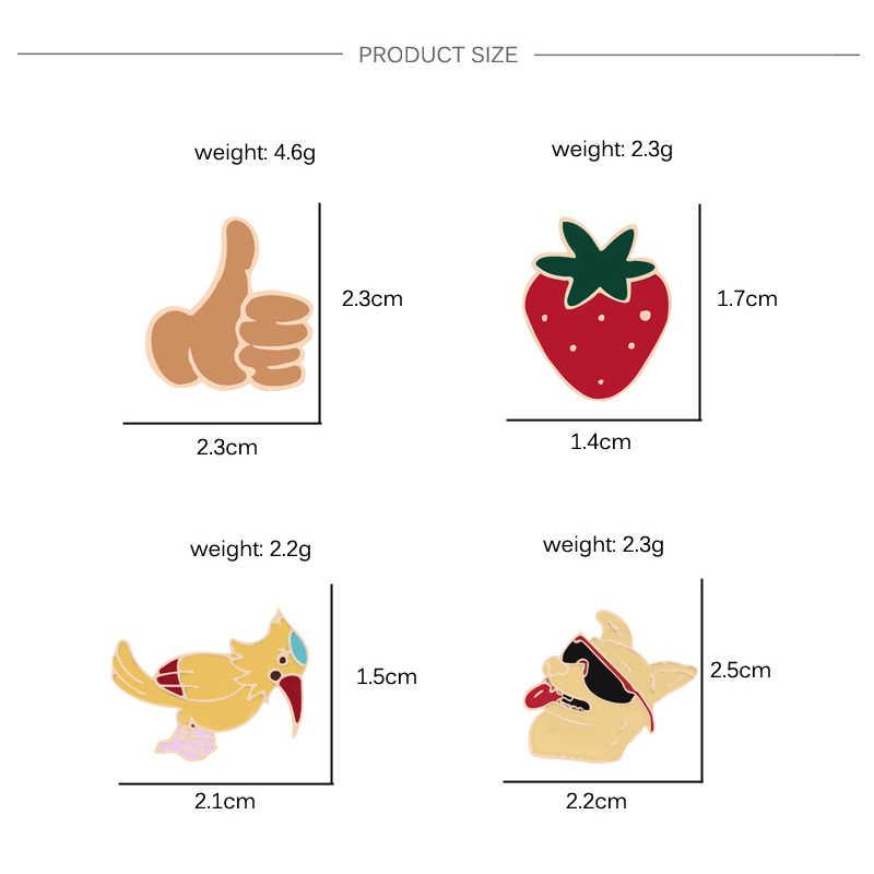 Kreatif Lencana Lucu Jempol Besar Hewan Pin Anjing Burung Strawberry Enamel Wanita Bros Kemeja Tas Kerah Perhiasan untuk Anak-anak permainan