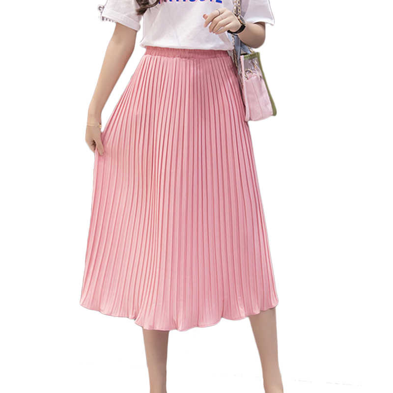 b22949492 ... Women Pleated Midi Skirt Chiffon Elastic High Waist Tutu Long Skirts  Female Summer Maxi Female Elegant ...