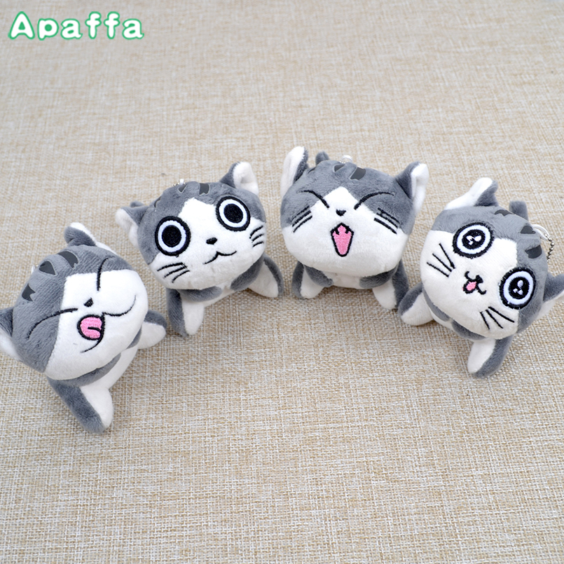 Super Cute Middle Size Sitting 10cm Plush Toys Dolls Chi Cat Keychain Stuffed Animals Soft Toys Kawaii Mini Kids Gifts kawaii pvc flocked dolls furry animals cars and desk decorate cute dolls exquisite collection flocking toys gifts for new year