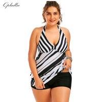 Plus Size Swimwear Bikini Women Black White Stripes Sexy Swimsuits 2017 Tankini Beach Biquini Indoor Bather