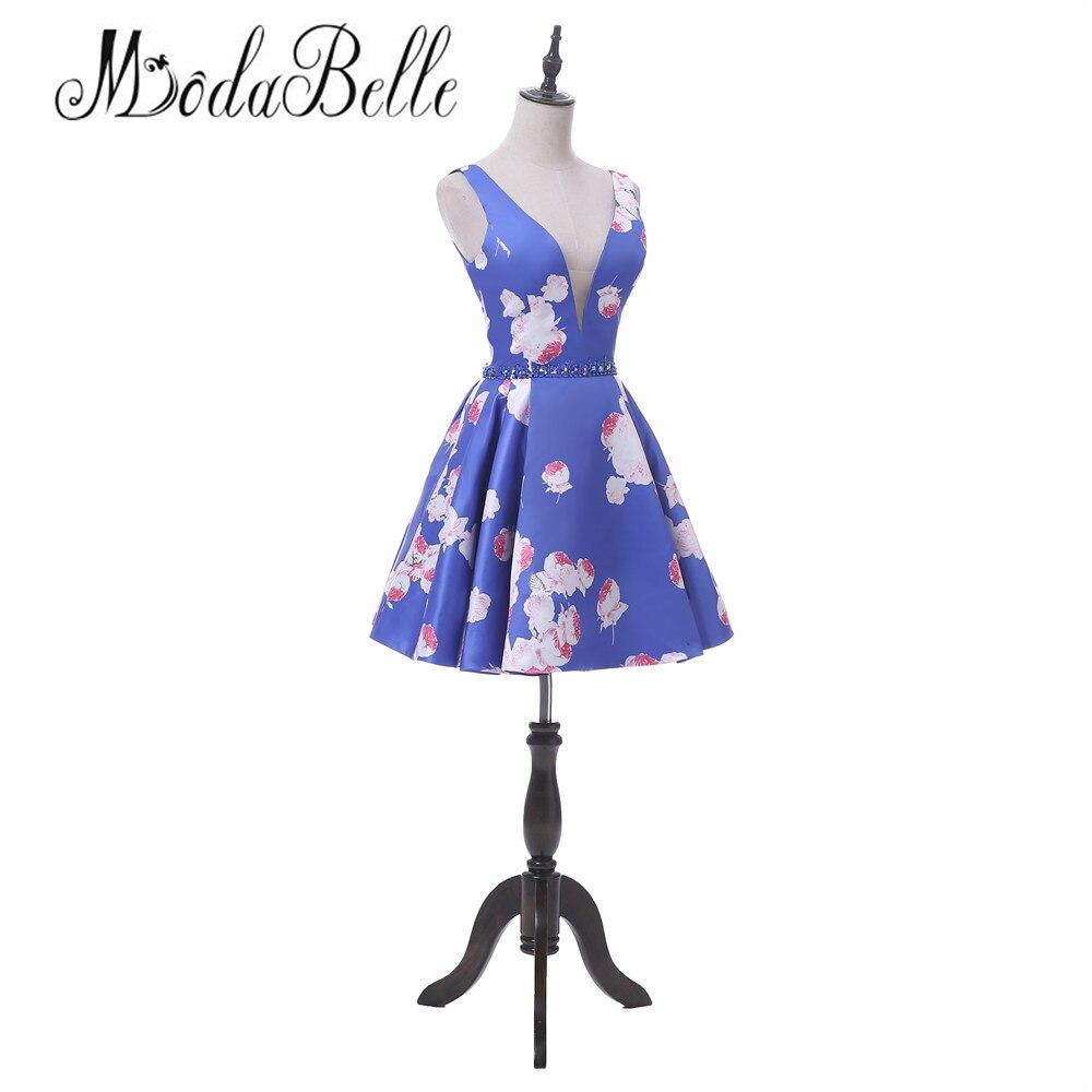 Modabelle 2018 vintage floral azul Vestidos de fiesta corto juniors ...