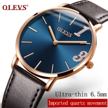 Watches - Couple Watches - OLEVS Ultrathin 6.5mm Lovers Waterproof Watch Leather Gold Dial Women Men WristwatchES Quartz Ladies Watches Romantic Gifts 2861