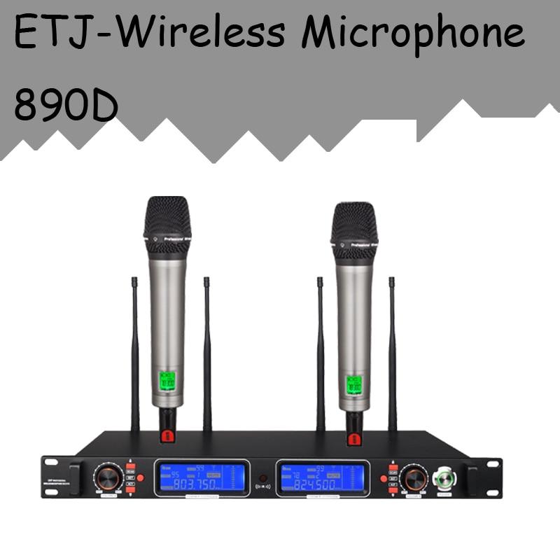 ETJ Brand True Diversity Professional Dual UHF Wireless Microphone 2 Transmitter 4 Receiver Stage Performance Microphone 890D new type true diversity em2500 em3032 wireless microphone system for stage karaoke 2 performances