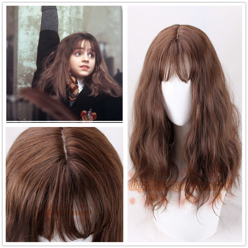1pcs Cosplay Movie Harri Potter Hermione Jean Granger Brown Wavy Curly Synthetic Hair Cosplay Costume Wigs + Wig Cap