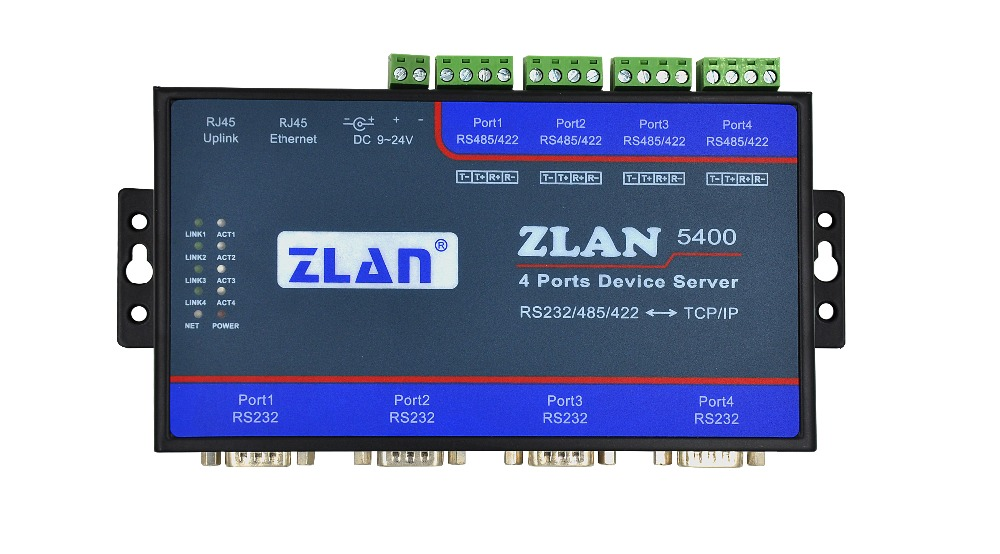 DHCP DNS 4 Port RS232 RS485 RS422 To TCP/IP Ethernet RJ45 Converter Industrial Serial Device Server Switch ZLAN5400