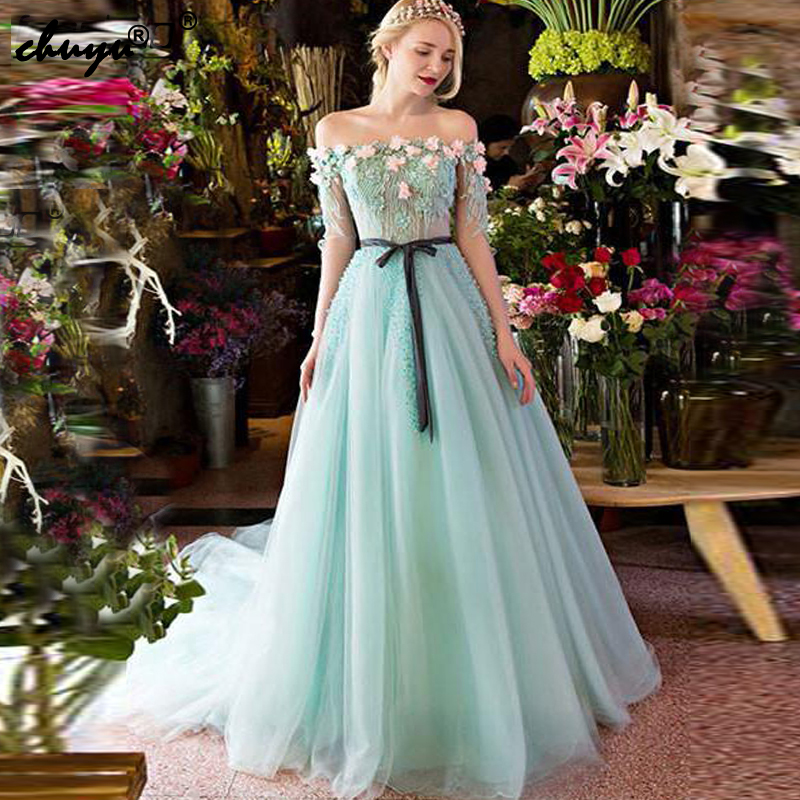Off the Shoulder Mint Green Muslim   Evening     Dresses   Tulle Appliques Beads Flowers Islamic Dubai Saudi Arabic Prom   Dress