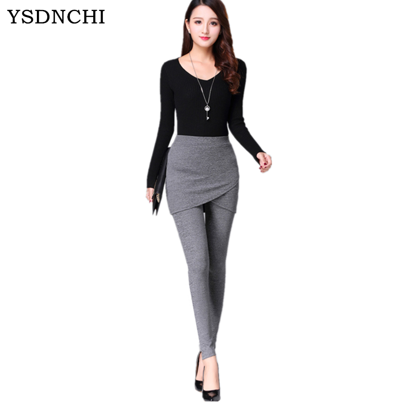 Hot Selling Solid Spring Summer   Legging   Patchwork Faux Two Piece Slim Hip Skirt Ankle Length Female Pure Colors Fashion Casual