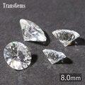 TransGems 8mm 2 Carat Moissanite Certificado F Incolor Pura VVS1 Rodada Brilliant Lab Brilliant Diamante Solto Gemstone Bead Gem