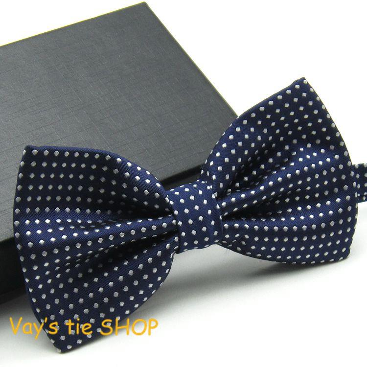 2014 New XMAS Gifts Classic Mens Fashion Dull Jacquard White Dot Leisure Bowtie Wedding Tuxedo Bow Ties Free Shipping Navy Blue