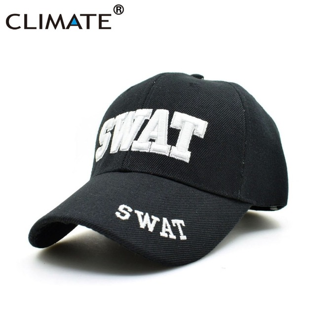 7adab7aafc4 CLIMATE New Men SWAT Baseball Caps Army S.W.A.T. Uniform Adjustable Cool  Black Baseball Caps Cool Men Black Baseball Tucker Caps