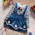 2017 vestido del cabrito de los bebés causales vestido de la raya ropa Infantil niños vestido de la flor linda ropa de bebé vestido de las muchachas 1 2 3 4 años