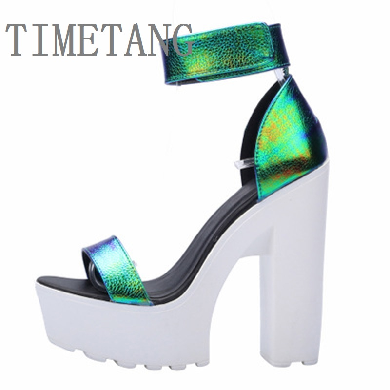 Hot Laser PU Sandals 2015 New Ultra Platform Thick High Heels Sandals Sexy Peep Toe Shoes For Women Fashion A word Belt Sandals anmairon shallow leisure striped sandals women flats shoes new big size34 43 pu free shipping fashion hot sale platform sandals