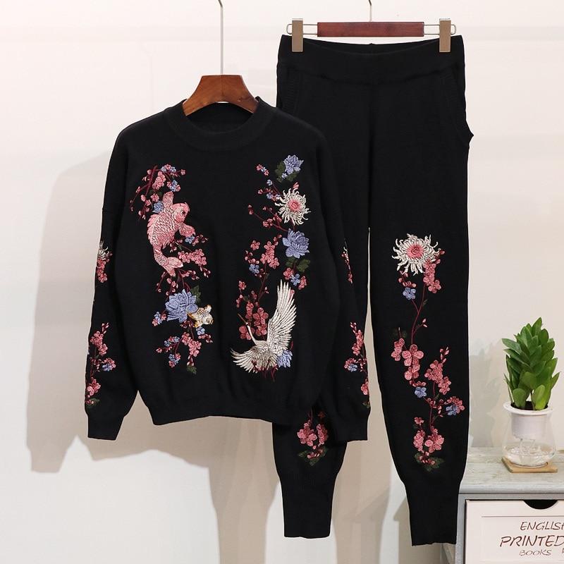 Haute Qualité Chandail de Femmes Jeux Top + Long Pantalon Tricoté Survêtement survêtement Hiver New Casual Broderie 2 Deux pièce Ensemble Femmes