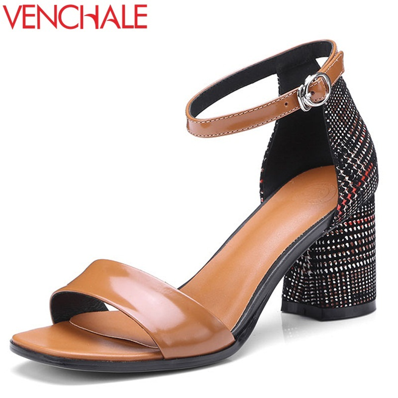 VENCHALE women shoes 2018 summer new sandals heel height 6.5 cm two colors square heel casual sandals genuine leather shoes venchale 2018 summer new fashion sandals wedges platform women shoes height heel 10 cm buckle strap casual cow leather sandals