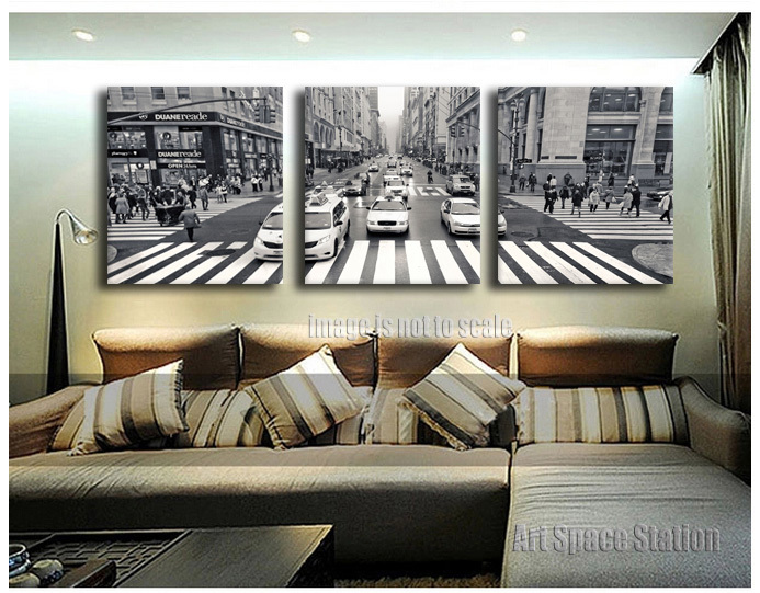 buy 3 pieces new york city street view canvas print wall art black and white. Black Bedroom Furniture Sets. Home Design Ideas