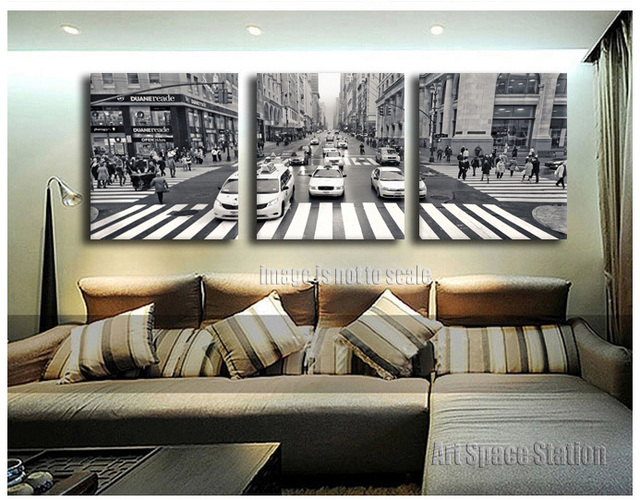 Buy 3 Pieces New York City Street View Canvas Print Wall Art Black And White