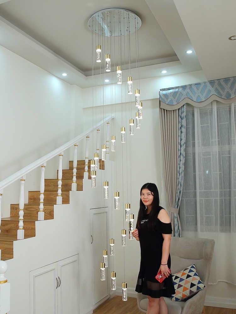 Hanging LED column pendant light for staircase bubble crystal pendant lamp Living Room Lustre lamp Modern G4 led Stair lighting