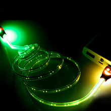 Sovawin Smile Grow LED Micro USB Cable 7 Colors 1M Light Noodle Flat Microusb Charger Cord for Samsung for HTC for Android Phone
