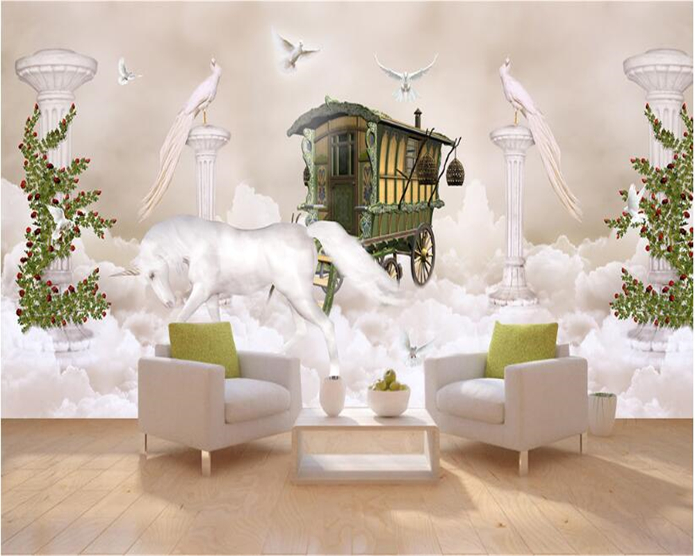 beibehang Dream fashion three dimensional wall paper sky clouds Roman columns full house background wall painting 3d wallpaper in Wallpapers from Home Improvement