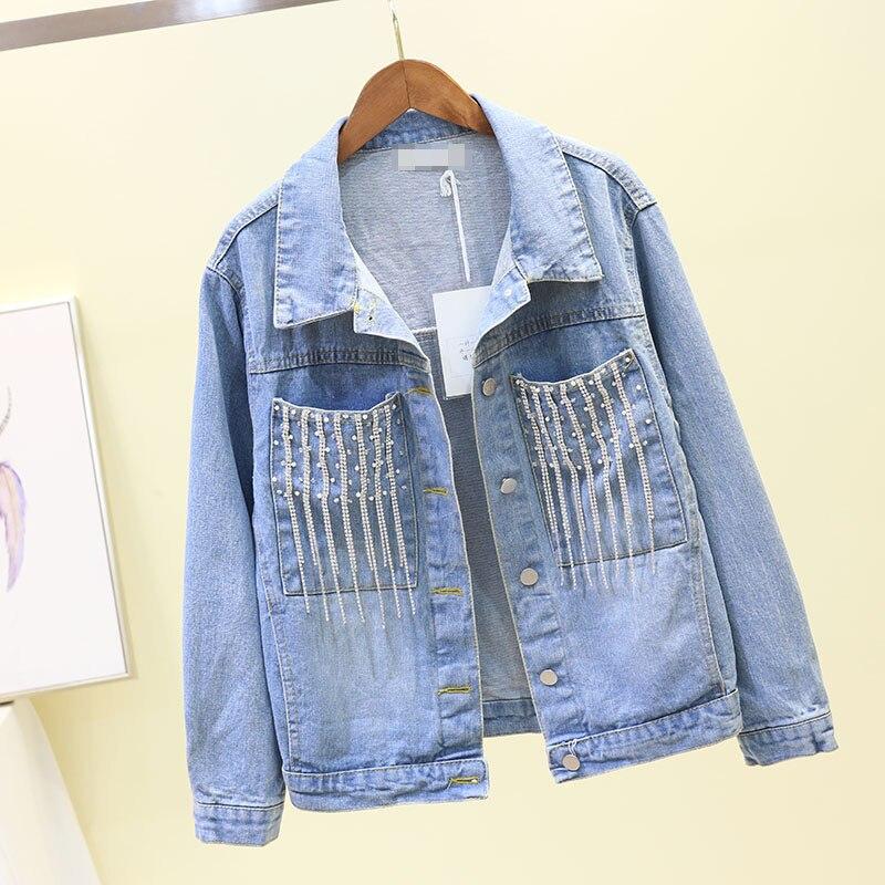 2019 printemps nouveau coréen diamant paillettes frangé lâche Denim veste court manteau femme BF étudiant Jeans chemises revers manteaux