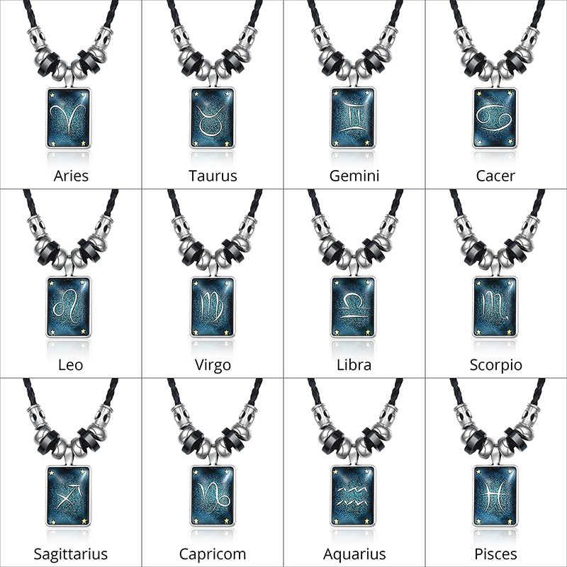 12 konstelacje skórzany naszyjnik dla mężczyzn baran naszyjnik ze znakiem zodiaku amulet ze stali nierdzewnej naszyjniki biżuteria męska Dropshpping UNM36