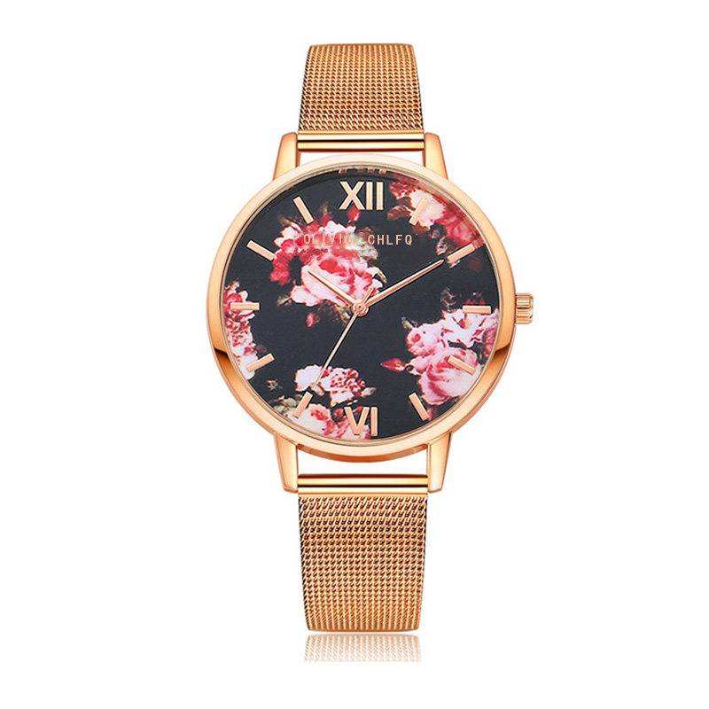 CHLFQ Rose Gold Simple Alloy Watch Flower Women Quartz Watch Fashion Temperament Ladies Dress Women's Bracelet Watch