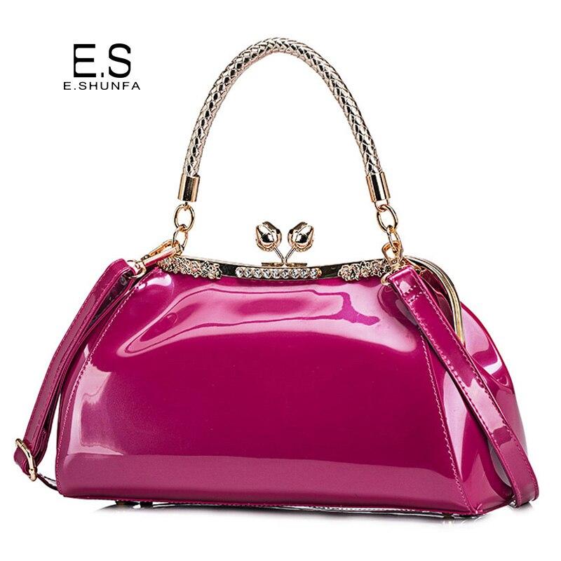 Elegant Ladies Handbags Shoulder Bags 2018 New Fashion Design Diamonds Tote Bag Women Casual Patent Leather