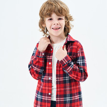 Fashion Boys Blouse For Girl Plaid Long Sleeve Turn-down Collar Teenager Tops Cotton Children Clothing Kids Clothes Shirt spring fall teenager long sleeve shirts fashion 2019 kids girls plaid blouses cotton lace tops for baby girl children clothing