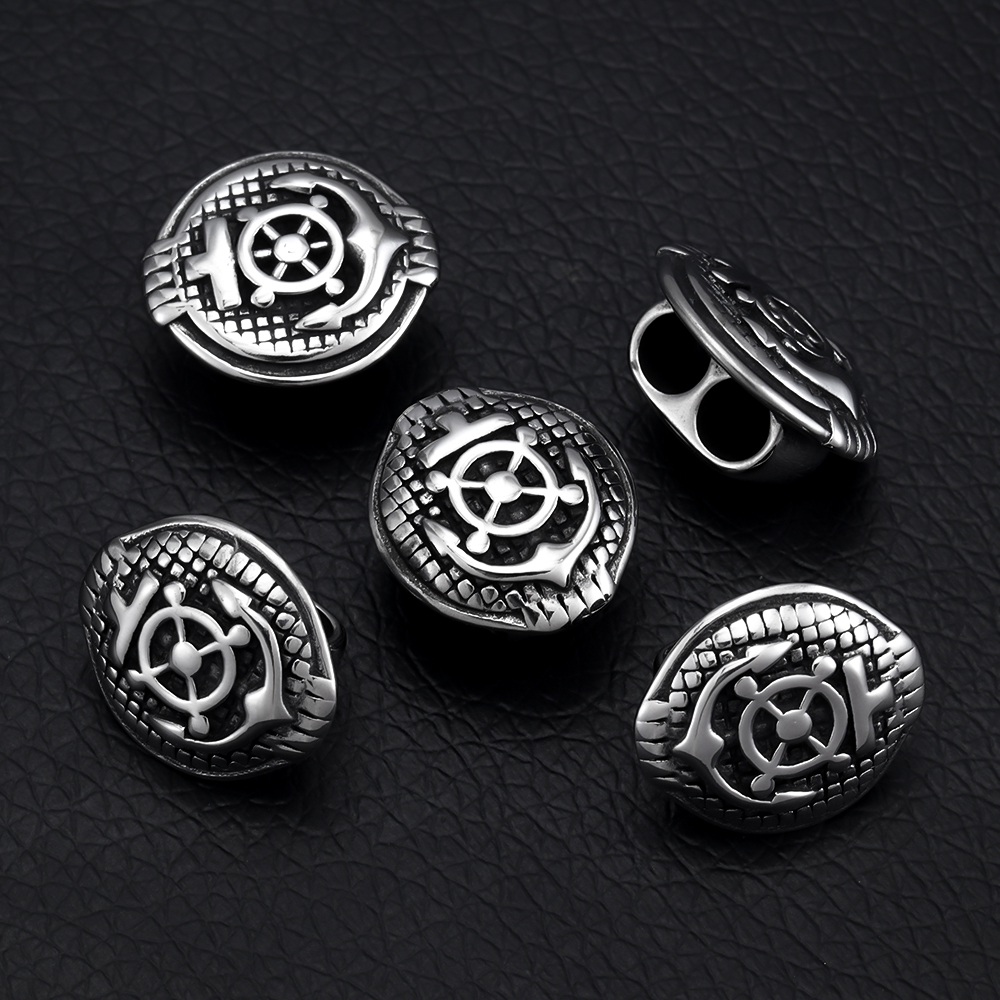 Stainless Steel Slider Beads Anchor Blacken Two Hole 5mm Slide Charms for Double Leather Bracelet Jewelry Making DIY Accessories in Beads from Jewelry Accessories
