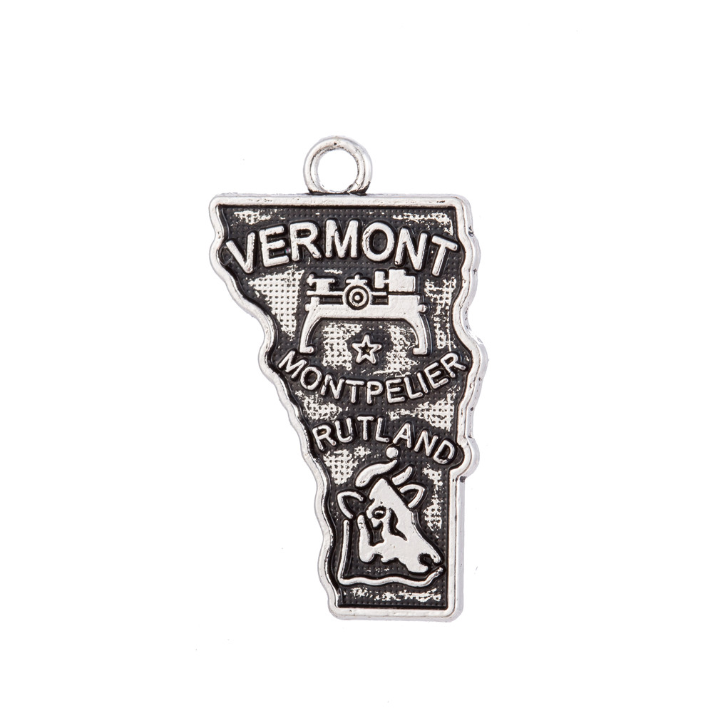 my shape Vermont State Map Charm Zinc Alloy Pendant Original Jewelry Making For Travelling Lovers 14*25mm 60Pcs/Lot