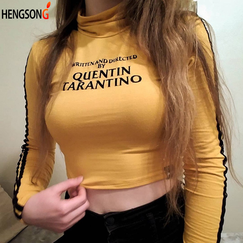 HENGSONG Women Fashion Letters Printed Short Top Tees Women Autumn Spring Turtleneck Long Sleeve T-shirt 2 Style 734125