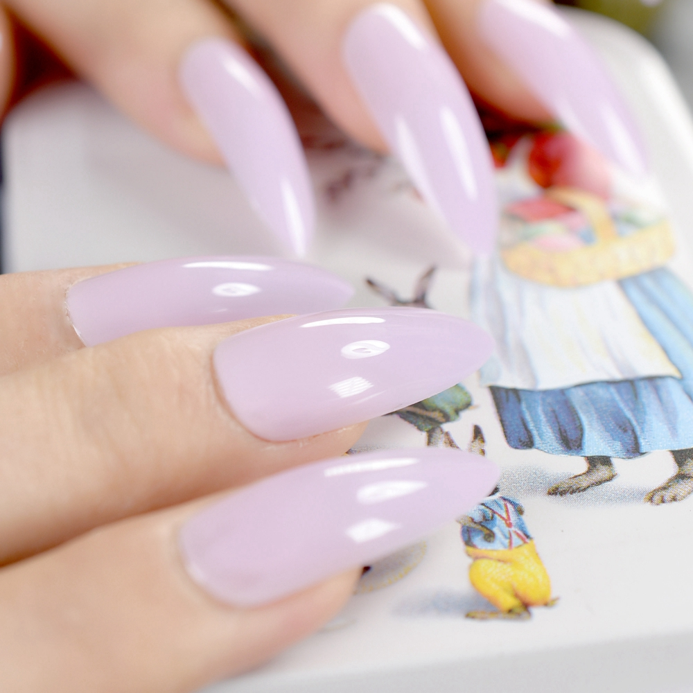 Extra Long Stiletto Nails Sharp Top Light Purple Pure Candy Acrylic Nail Tips Diy Lady Fake Faux Ongles With Glue Sticker Z752 In False From Beauty