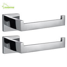 Modern SUS 304 Chrome Toilet Paper Holder 2-pack Polished Stainless Steel Roll Holder Mounting Bathroom Accessories Products rt6 stainless steel polished chrome toothbrush holder with glass cup silver double shelf mounting bathroom accessories products 5600