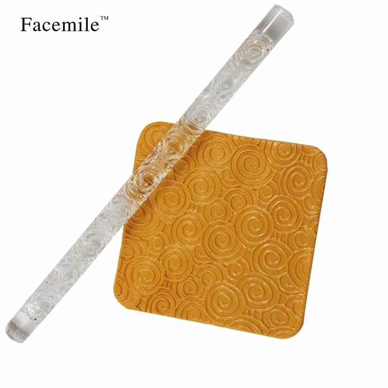 размеры круглой формы, прозрачный тиснение акриловые скалка для теста торт помадка украшения инструменты кондитерские инструменты для тортов 52013