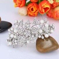 BELLA Fashion Leaf Flower Bridal Hair Clip Simulated Pearl Hairpin Wedding Hair Clip Accessory Silver Plated
