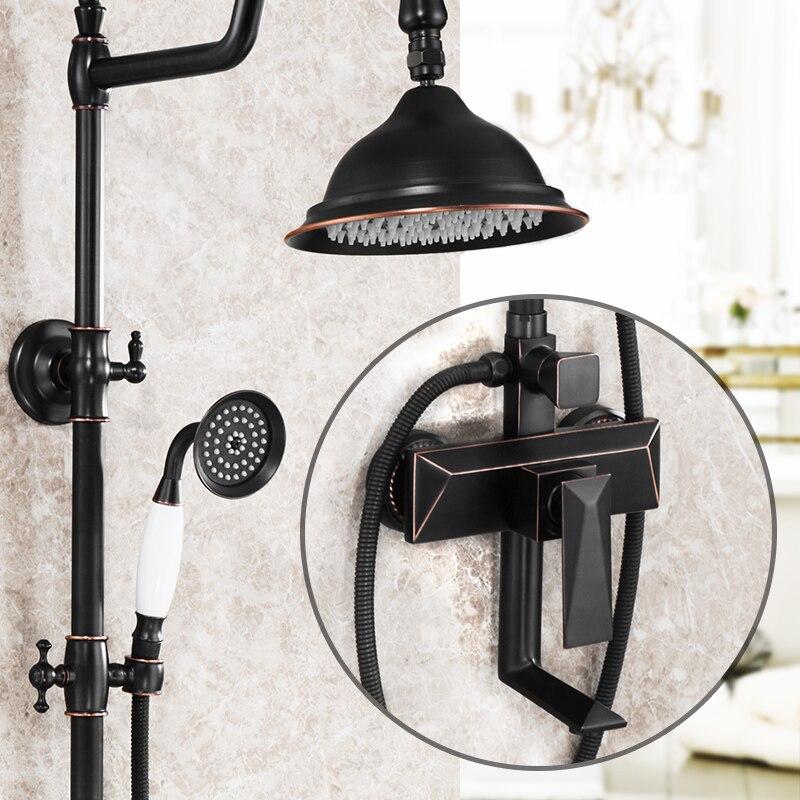 Ensemble de douche en laiton massif peinture à l'huile noire pour salle de bain robinet de robinet à main en céramique Style téléphone mural robinet mitigeur 3 fonctions