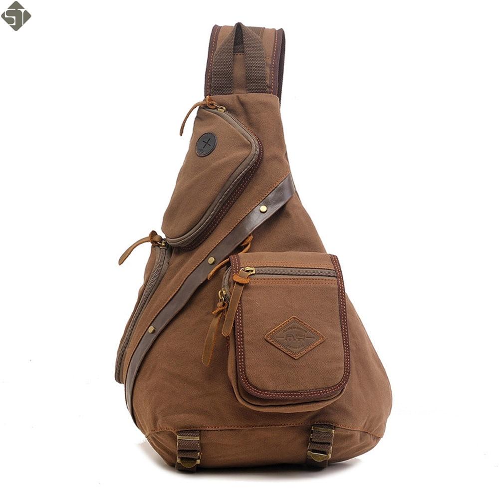FUSHAN Brand Canvas Men Shoulder Bag Fashion Trending Oil Wax Leather Mens Crossbody Bag Casual Coffee Chest Pack Men Bag