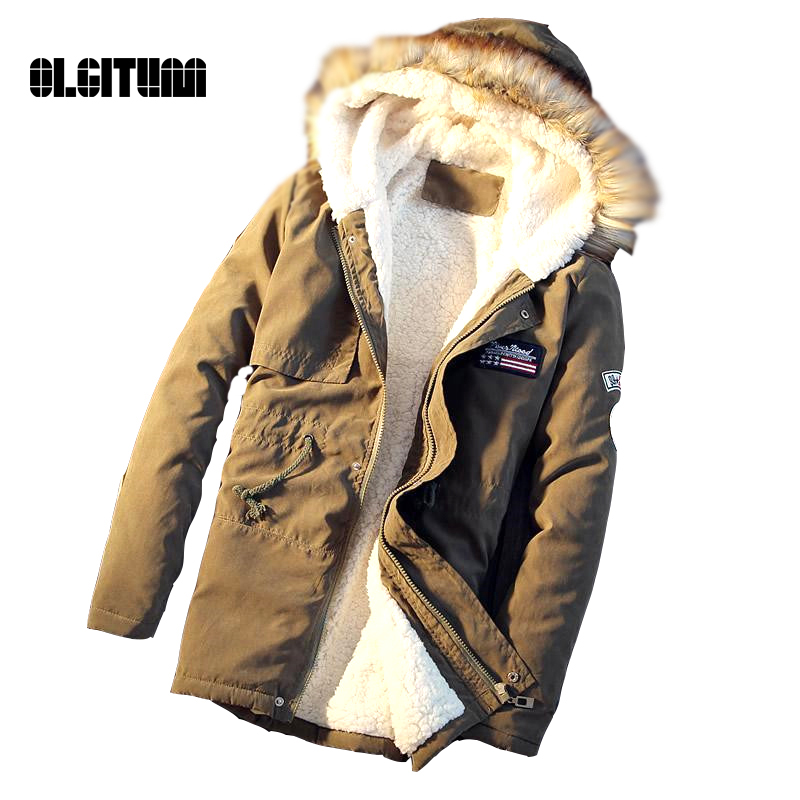 ФОТО 2016 Men's Coat  High Quality Fashion  Hot Sale Winter  Men Thick warm parka Fur Hood With Cashmere Winter Jacket